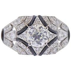 Art Deco 1.19 Carat Old European Diamond Platinum Ring