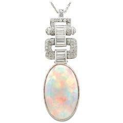 Art Deco 11.93 Carat Opal and 1.93 Carat Diamond Platinum Pendant