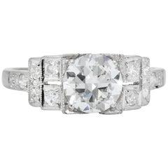 Art Deco 1.20 Carat Diamond Platinum Engagement Ring GIA
