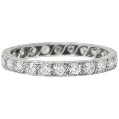 Art Deco 1,20 Karat Diamant Platin Ewigkeits-Band-Ring