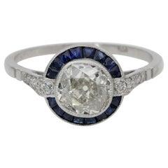 Art Deco 1.20 Carat Diamond Plus Platinum Target Ring