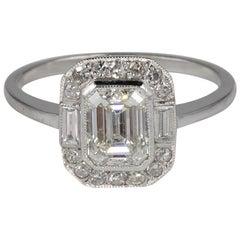 Art Deco 1,20 Karat Smaragdschliff Diamant Solitaire Platin Ring