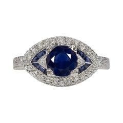 Art Deco 1.20 Carat Royal Blue Sapphire White Gold Solitaire Ring