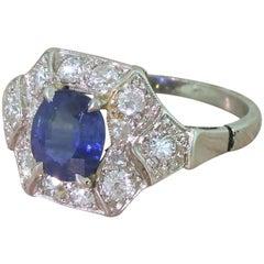 Art Deco 1.20 Carat Sapphire and Diamond Platinum Cluster Ring