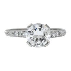 Art Deco 1.20 Carat Transitional Cut Diamond Platinum Engagement Ring GIA
