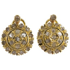 Art Deco 1.20 Carat White Rose Cut Diamond Yellow Gold Dangle Clip-On Earrings