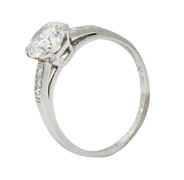Art Deco 1.20 Carats Diamond Platinum Wide Prong Engagement Ring For Sale 5
