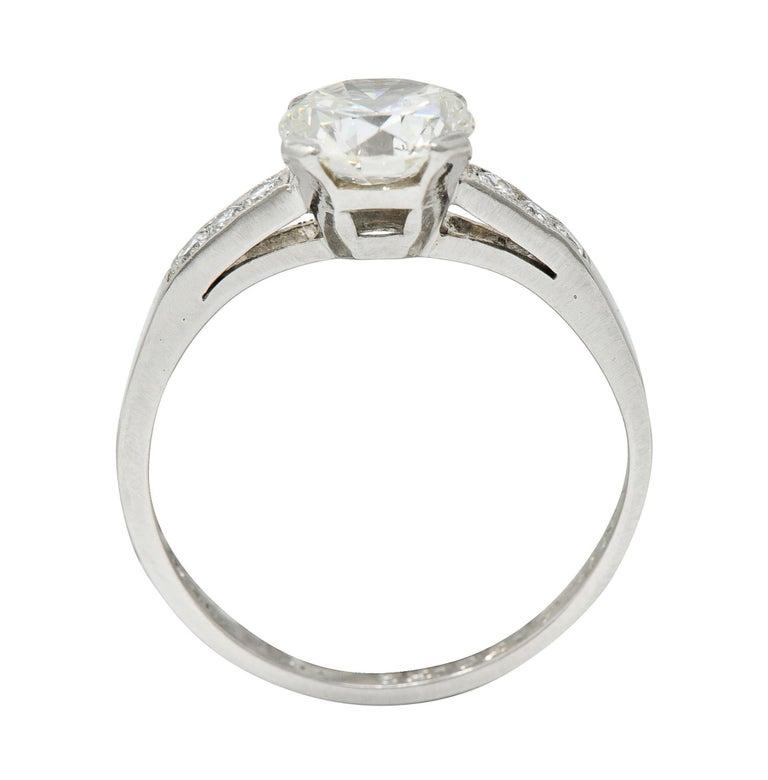 Art Deco 1.20 Carats Diamond Platinum Wide Prong Engagement Ring For Sale 3