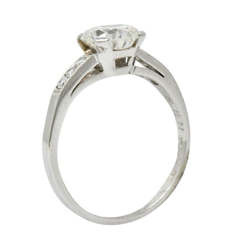 Art Deco 1.20 Carats Diamond Platinum Wide Prong Engagement Ring For Sale 4