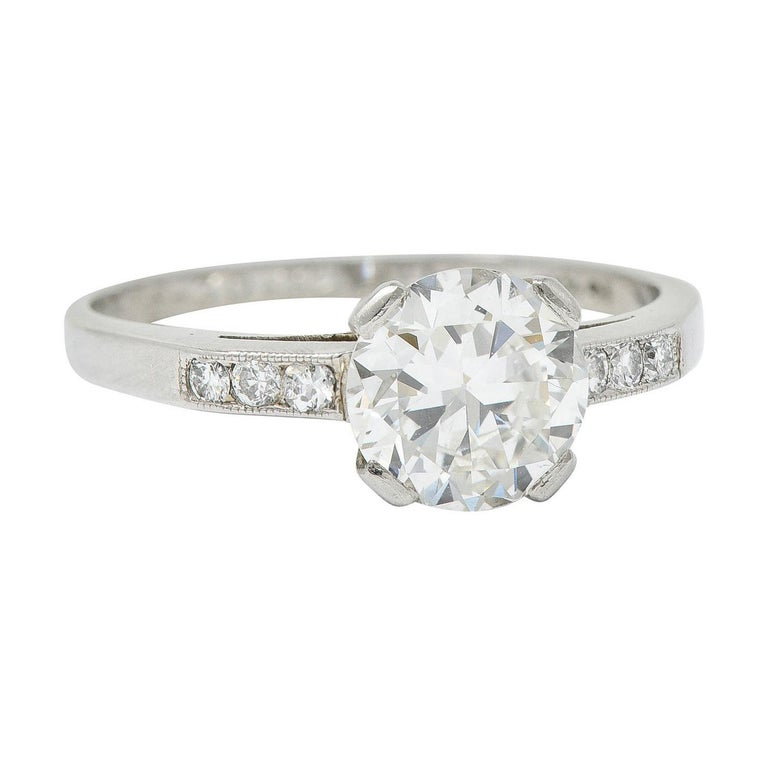 Art Deco 1.20 Carats Diamond Platinum Wide Prong Engagement Ring For Sale