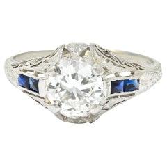 Art Deco 1.20 Carats Diamond Sapphire 14 Karat White Gold Engagement Ring