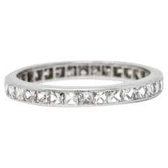 Art Deco 1.20 Carats French Cut Diamond Platinum Eternity Band Ring