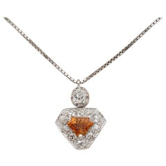 Art Deco 1.20 Carat No Heat Orange Sapphire 1.20 Old Cut Diamond Shield Pendant