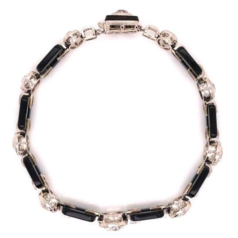 Women's or Men's Art Deco 12.00 Diamond and Onyx Platinum Bracelet Fine Estate Jewelry For Sale