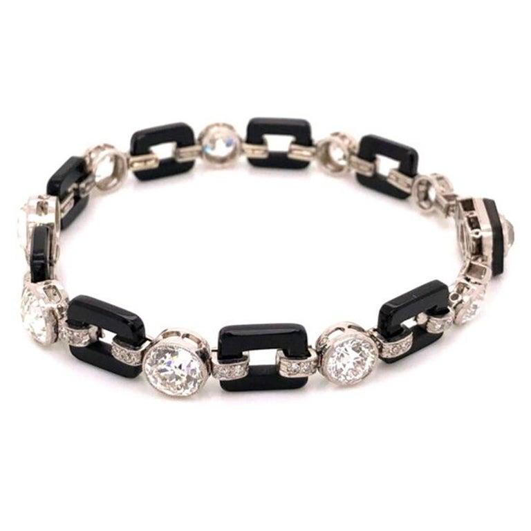 Art Deco 12.00 Diamond and Onyx Platinum Bracelet Fine Estate Jewelry For Sale 1