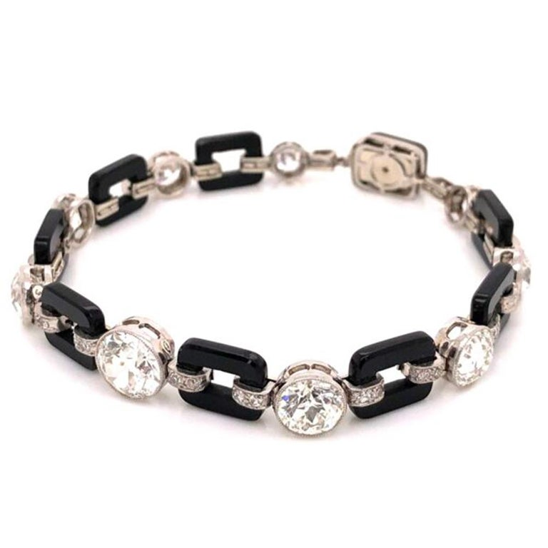 Art Deco 12.00 Diamond and Onyx Platinum Bracelet Fine Estate Jewelry For Sale 2