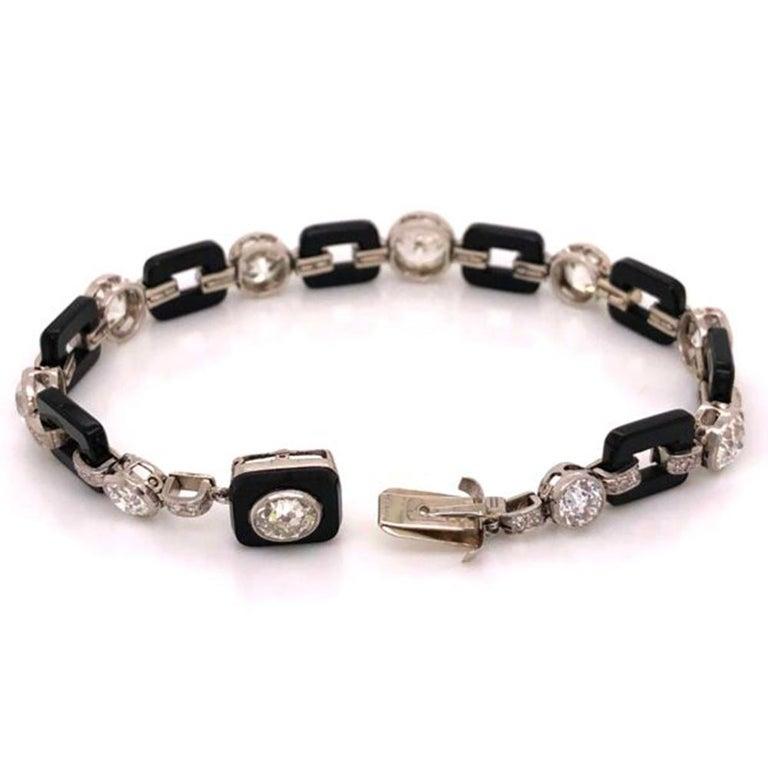 Art Deco 12.00 Diamond and Onyx Platinum Bracelet Fine Estate Jewelry For Sale 3