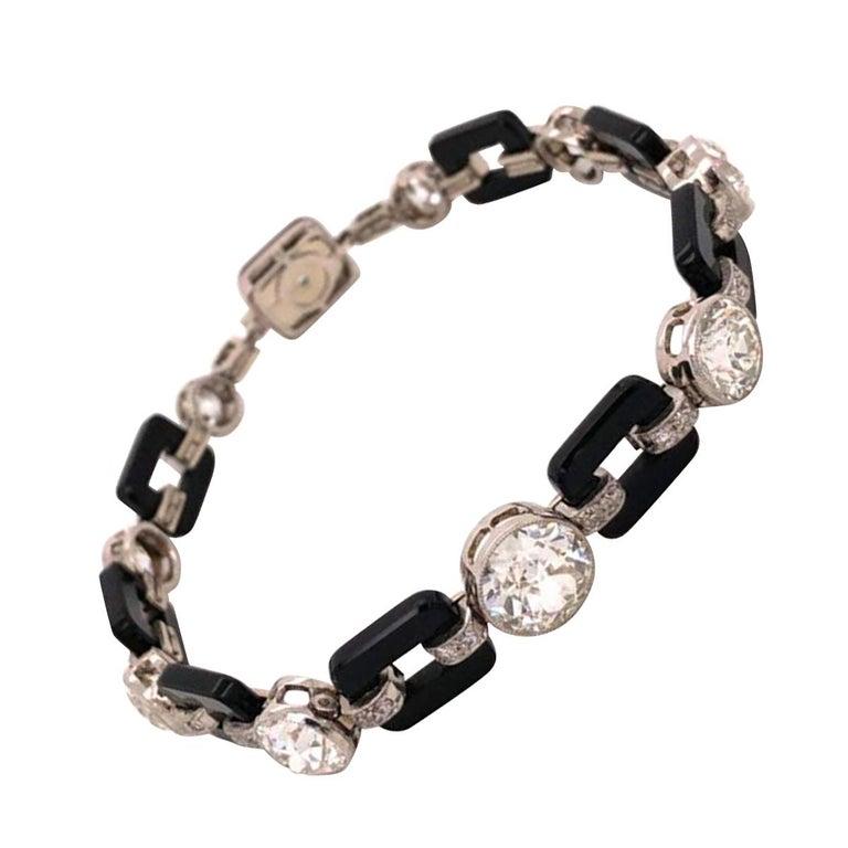 Art Deco 12.00 Diamond and Onyx Platinum Bracelet Fine Estate Jewelry For Sale