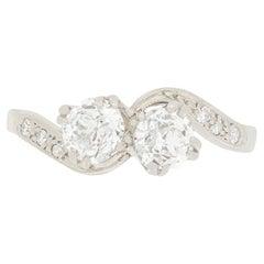 Art Deco 1.20ct Diamond Two Stone Twist Ring, c.1920s
