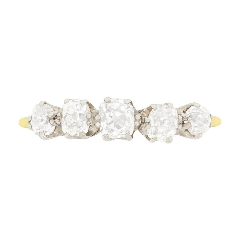 Art Deco 1.20 Carat Five-Stone Diamond Ring, circa 1920s