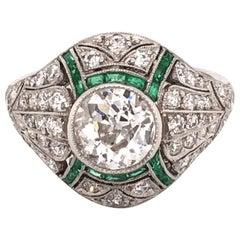 Art Deco Style  1.23 Carat Diamond Emerald Platinum Engagement Ring