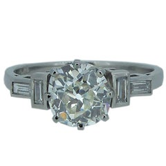 Art Deco 1.24 Carat Old European Cushion Cut Diamond Engagement Ring