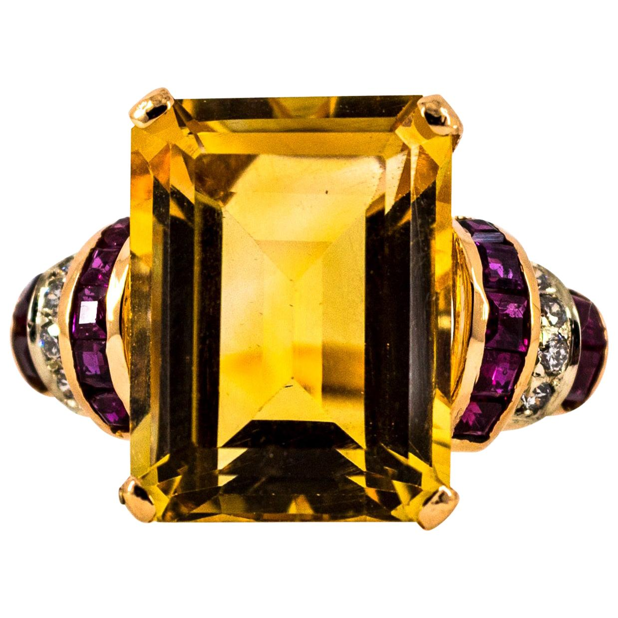 Art Deco Style 12.42 Carat White Diamond Ruby Citrine Yellow Gold Cocktail Ring