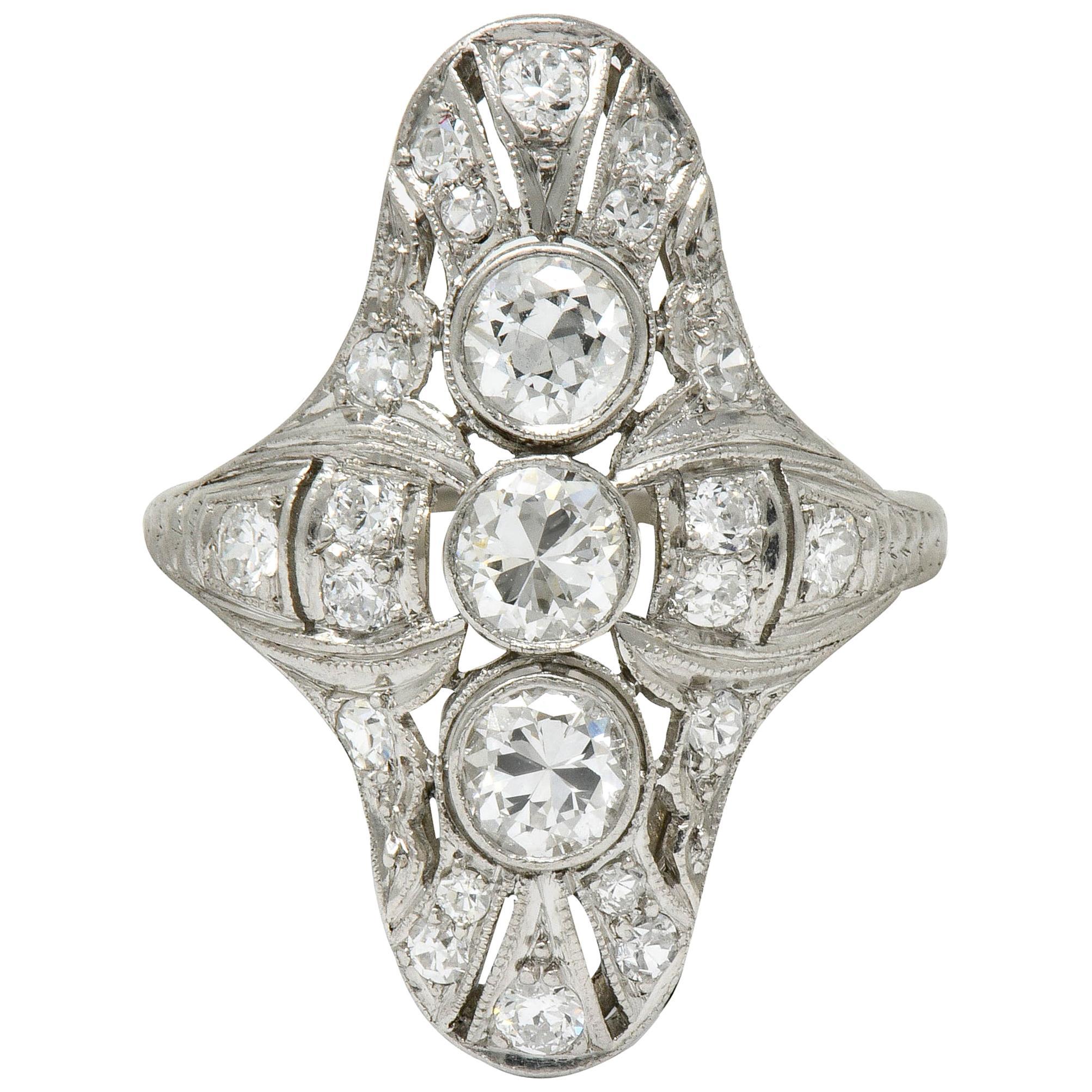 Art Deco 1.25 Carat Diamond Platinum Dinner Ring