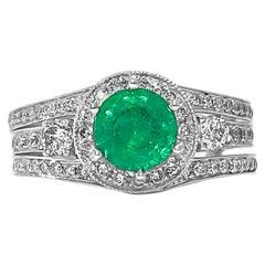Art Deco Style 1.25 Carat Emerald Ring Cocktail Ring 14 Karat White Gold