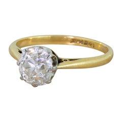 Art Deco 1.25 Carat Old Cut Diamond Engagement Ring