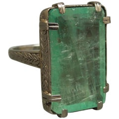 Art Deco 12.50 Carat Emerald Cut Emerald Solitaire Ring