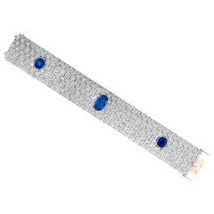 Art Deco 12.75 Carat Unheated Burma Sapphire and Diamond Platinum Bracelet