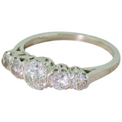 Art Deco 1.28 Carat Old Cut Diamond Five-Stone Ring