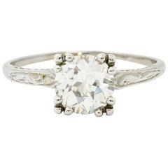 Art Deco 1.30 Carat Diamond 20 Karat White Gold Engagement Ring GIA