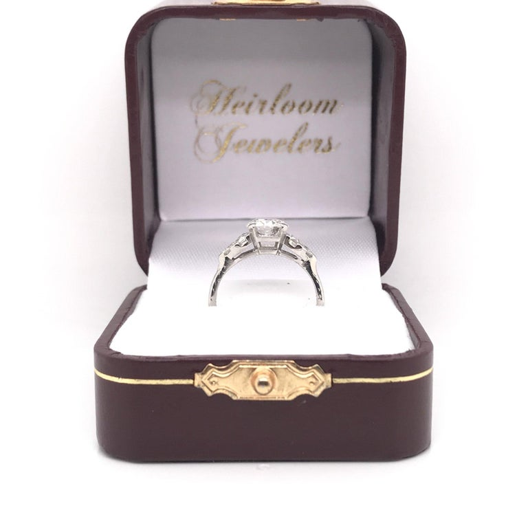 Art Deco 1.30 Carat French Cut Platinum Engagement Ring For Sale 7