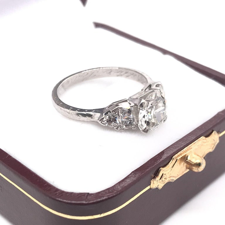 Art Deco 1.30 Carat French Cut Platinum Engagement Ring For Sale 8