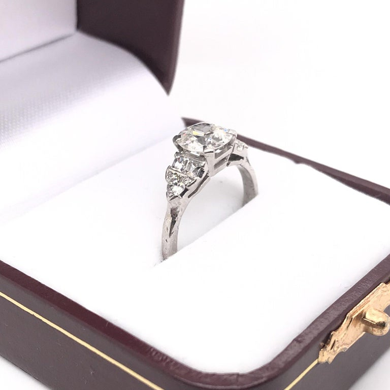 Art Deco 1.30 Carat French Cut Platinum Engagement Ring For Sale 9