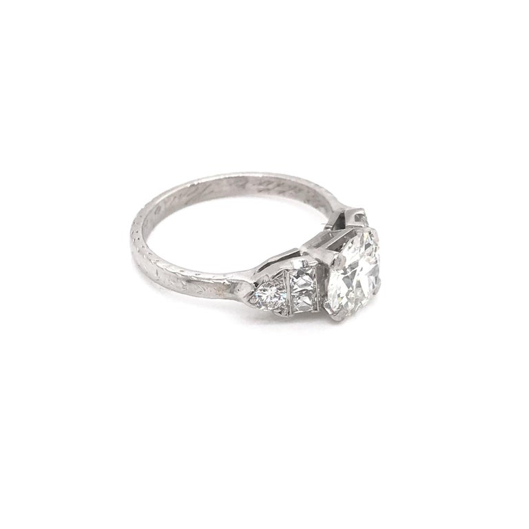 Women's Art Deco 1.30 Carat French Cut Platinum Engagement Ring For Sale