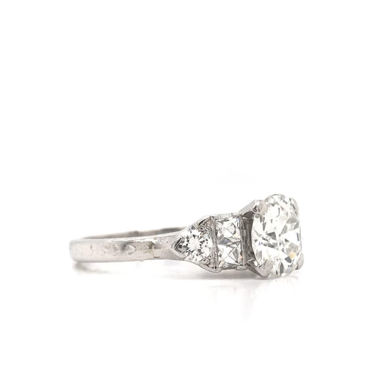 Art Deco 1.30 Carat French Cut Platinum Engagement Ring For Sale 1