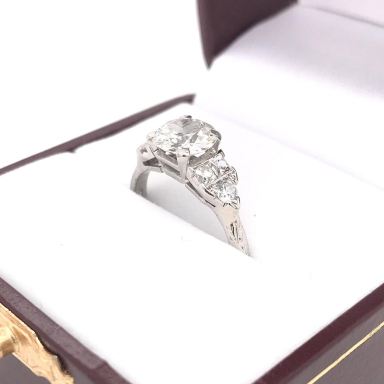 Art Deco 1.30 Carat French Cut Platinum Engagement Ring For Sale 3