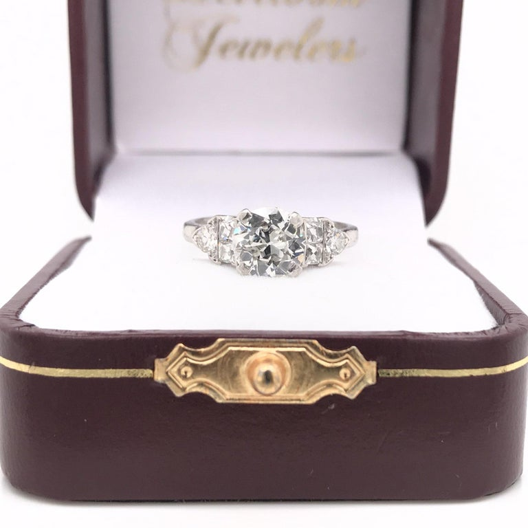 Art Deco 1.30 Carat French Cut Platinum Engagement Ring For Sale 5