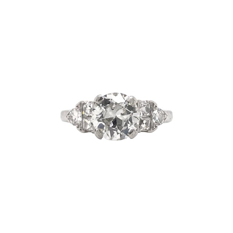 Art Deco 1.30 Carat French Cut Platinum Engagement Ring For Sale