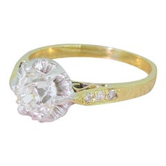 Art Deco 1.30 Carat Old Cut Diamond Engagement Ring