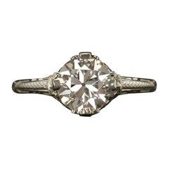 Art Deco 1.30 Carat Old Cut Diamond Gold Ring
