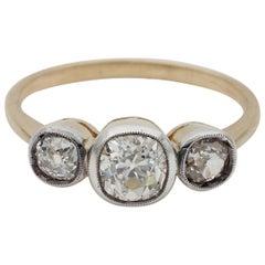 Art Deco 1.30 Carat Old Mine Diamond Trilogy Ring