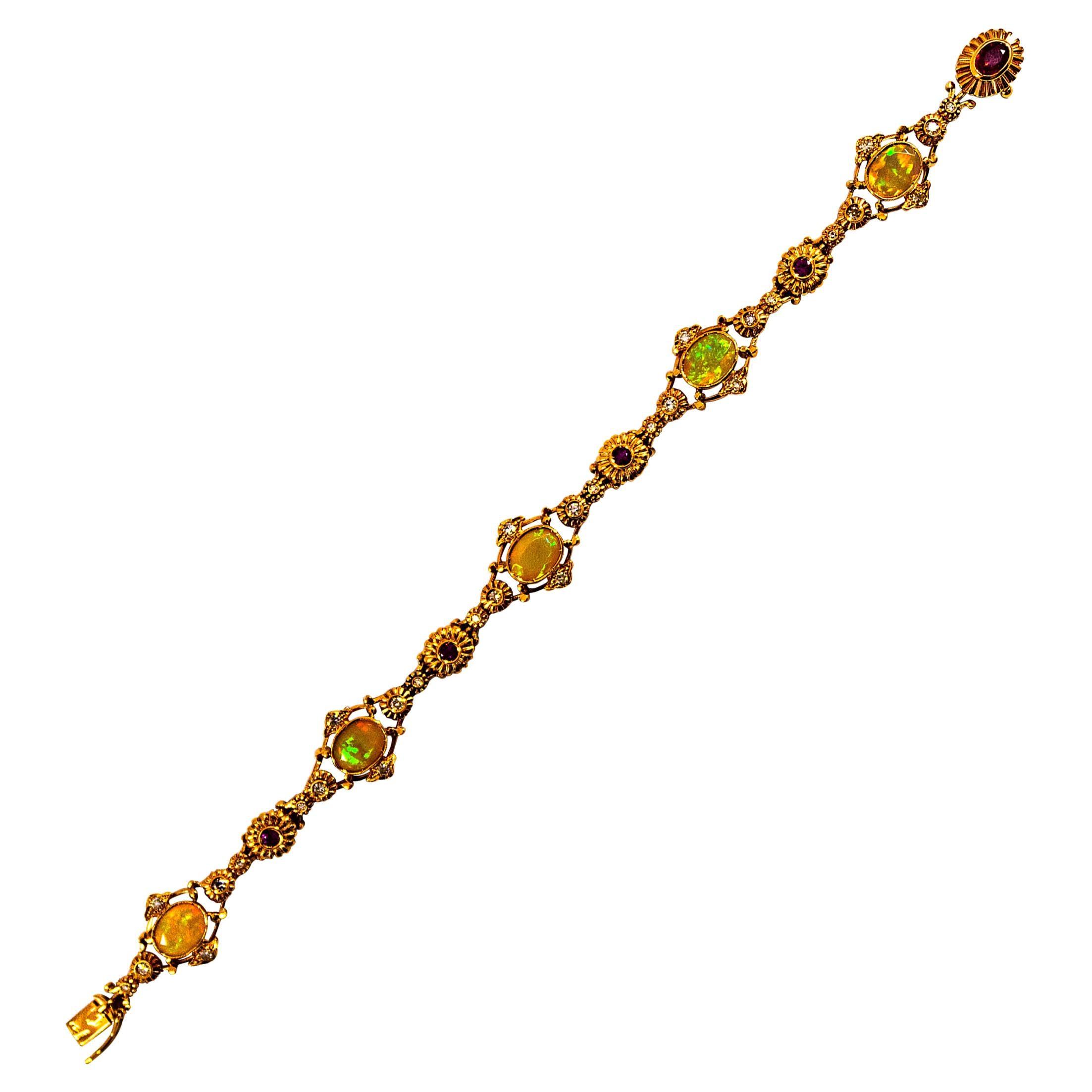 Art Deco Style 1.30 Carat Diamond Ruby 3.50 Carat Opal Yellow Gold Bracelet