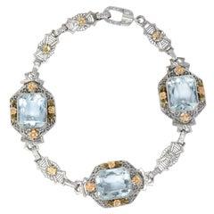Art Deco 13.00 Carat Aquamarine 14 Karat Tri-Color Bracelet