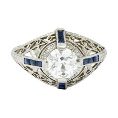 Art Deco 1.32 Carats Diamond Sapphire Platinum Foliate Engagement Ring