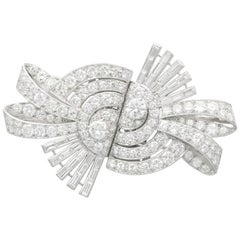 Art Deco 13.22 Carat Diamond and Platinum Duette Double Clip Brooch