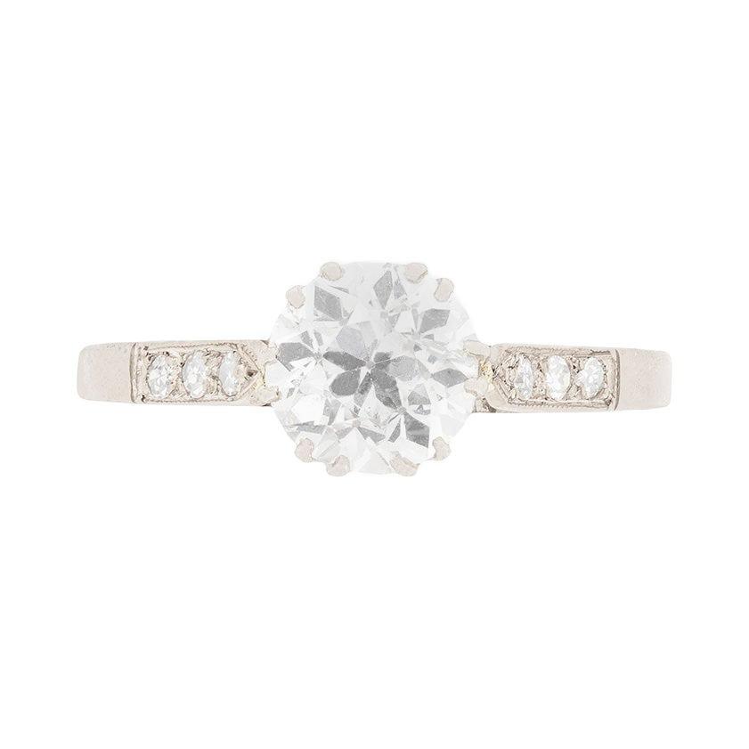 Art Deco 1.32 Carat Diamond Solitaire Engagement Ring, circa 1920s